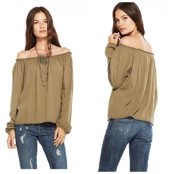 839f45d90c90a Chaser Green Off Shoulder Cotton Peasant Blouse